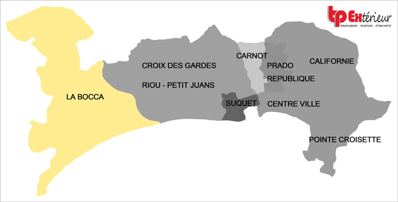 Le nuancier des couleurs de la ville de Cannes est établie selon les 6 zones figurant sur cette carte. Vous habitez la Bocca et vous souhaitez faire ravaler votre façade, consultez ici le nuancier de votre quartier.
